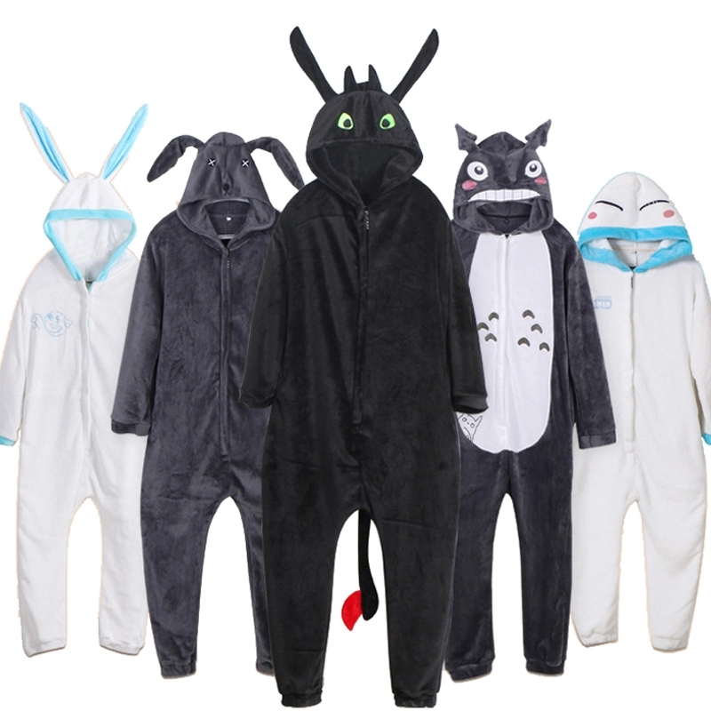 How To Train Your Dragon Devil Totoro Cosplay Kasugano Sora Toothless Night Fury Sleepwear Winter Pajamas Jumpsuit Onesies