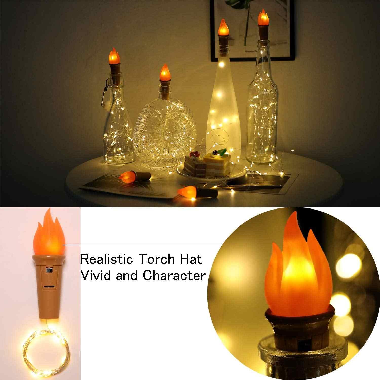 トーチボトルコルク 20 LED ワインボトルでストリングライトバッテリー銅線星空妖精ライトパーティークリスマスの装飾