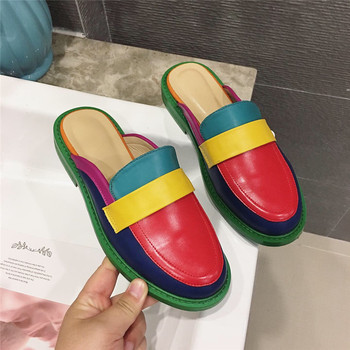 NIUFUNI Fashion Rainbow Color Women's Slippers Shallow Casual Slides Round Head Flat Shoes Slip On 2020 Summer Beach Shoes 5