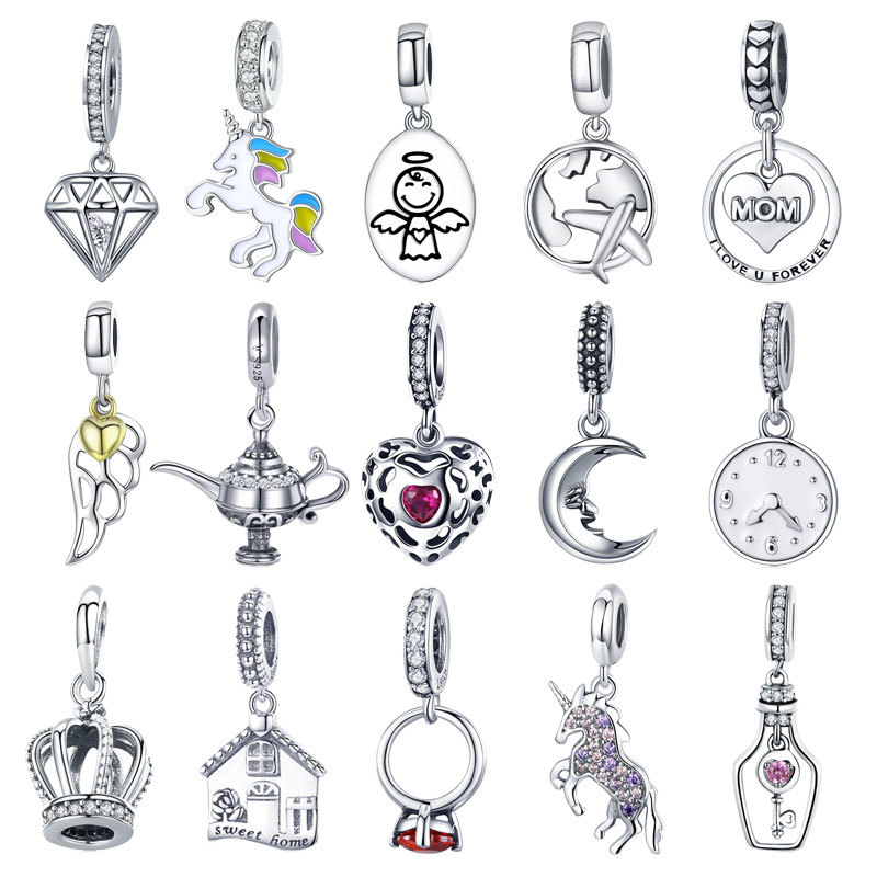 Authentic 925 Sterling Silver Sparkling AAA Zircon Heart Dangle Beads Fit Original PAN Charm Bracelet Necklace Jewelry Gift