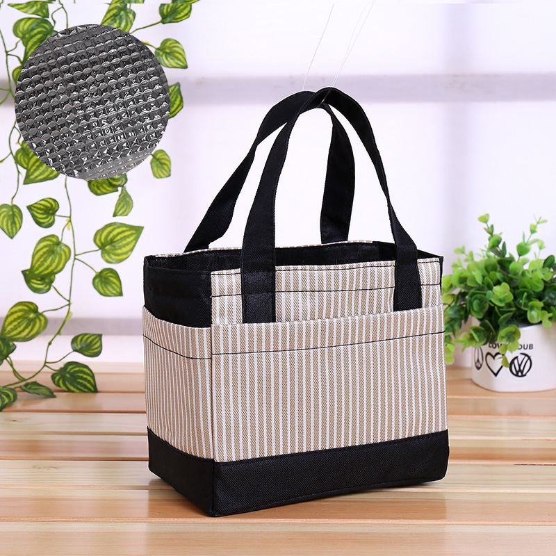 Fashion Thick Thermal Lunch Box Bag Bento Box Bag Hand Aluminum Foil Waterproof Carrying Food Carrying Mommy Canvas Lunch Bag