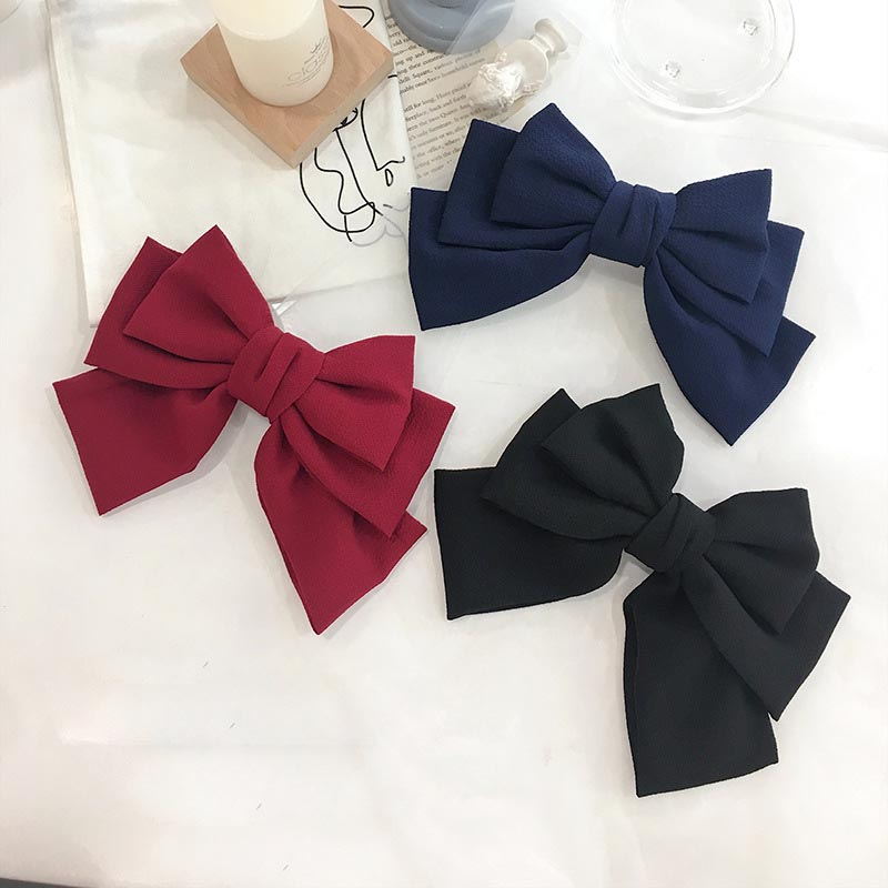 New Large Hair Bows For Women Girls With French Clips Black Seersucker Bowknot Hairgrips Spring Autumn Elegant Hair Accessories
