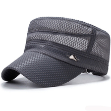 HT3048 Trucker Mesh Cap Breathable Summer Sun Hat Flat Top Cadet Army Military Male Adjustable Baseball Men