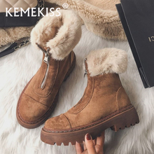 KemeKiss Women Snow Boots Real Leather Warm Fur High Heel Winter Shoes Woman Plush Fashion Platform Short Boot Size 34-40