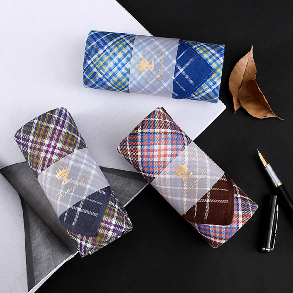 Square Plaid Stripe Handkerchiefs Men Classic Vintage Pocket Hanky Pocket 100% Cotton Towel For Wedding Party 43*43cm