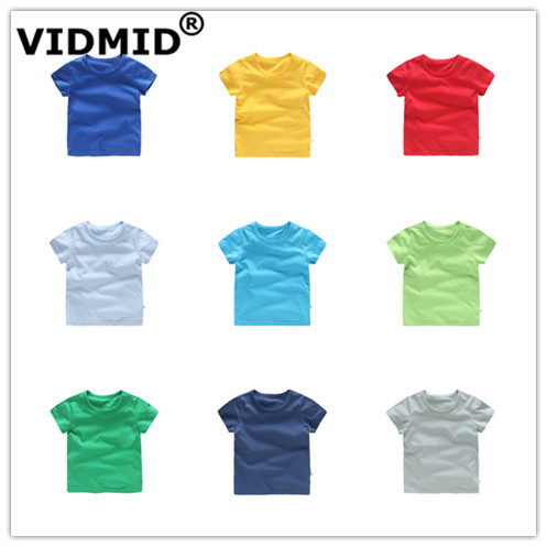VIDMID Kids Tops Baby Boys Cotton Short Sleeve T-shirt Tees Girls Children Casual Candy Color Clothes Baby Boys Girls Tees 4018