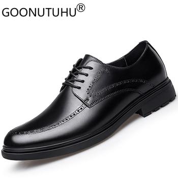 2020 new fashion men's shoes dress genuine leather male classics brown black shoe man office formal shoes for men big size 38-47