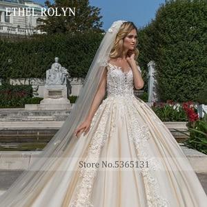 Image 3 - ETHEL ROLYN 공주 웨딩 드레스 2020 a 라인 로브 드 Mariee 럭셔리 신부 드레스 구슬 짧은 레이스 appiques 신부 가운