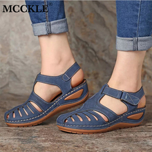 MCCKLE Woman Summer Leather Vintage Sandals Buckle Casual Sewing Women