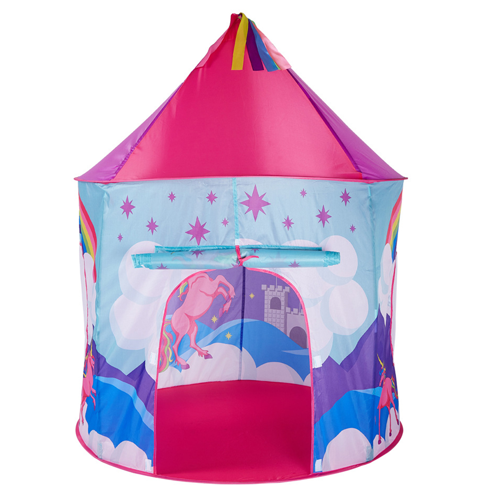 Kids Tent House Cartoon Horse Rainbow Baby Play Toy House Princess Castle Children Boy Cubby Play House Kids Gifts Outdoor Toy