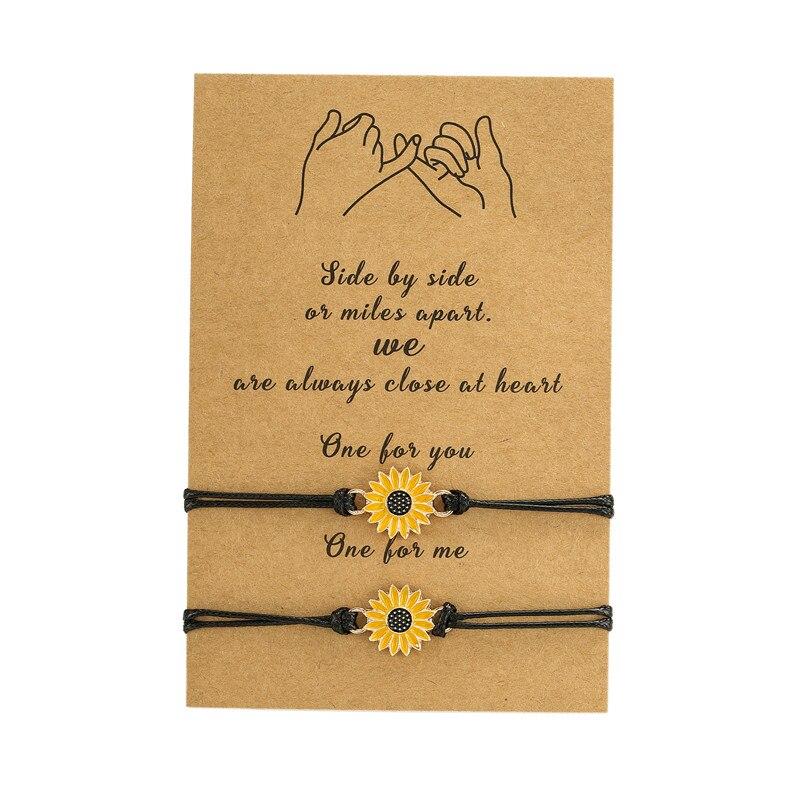 Плетеный черный браслет-цепочка ручной работы 2 шт./компл. Подсолнух браслет-Шарм Дружба Ювелирные изделия подарок