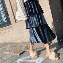 Autumn Winter 2019 New Women Long Skirts Pleuche Thick Ruffles Cake Pleated High Waist Elastic Haut