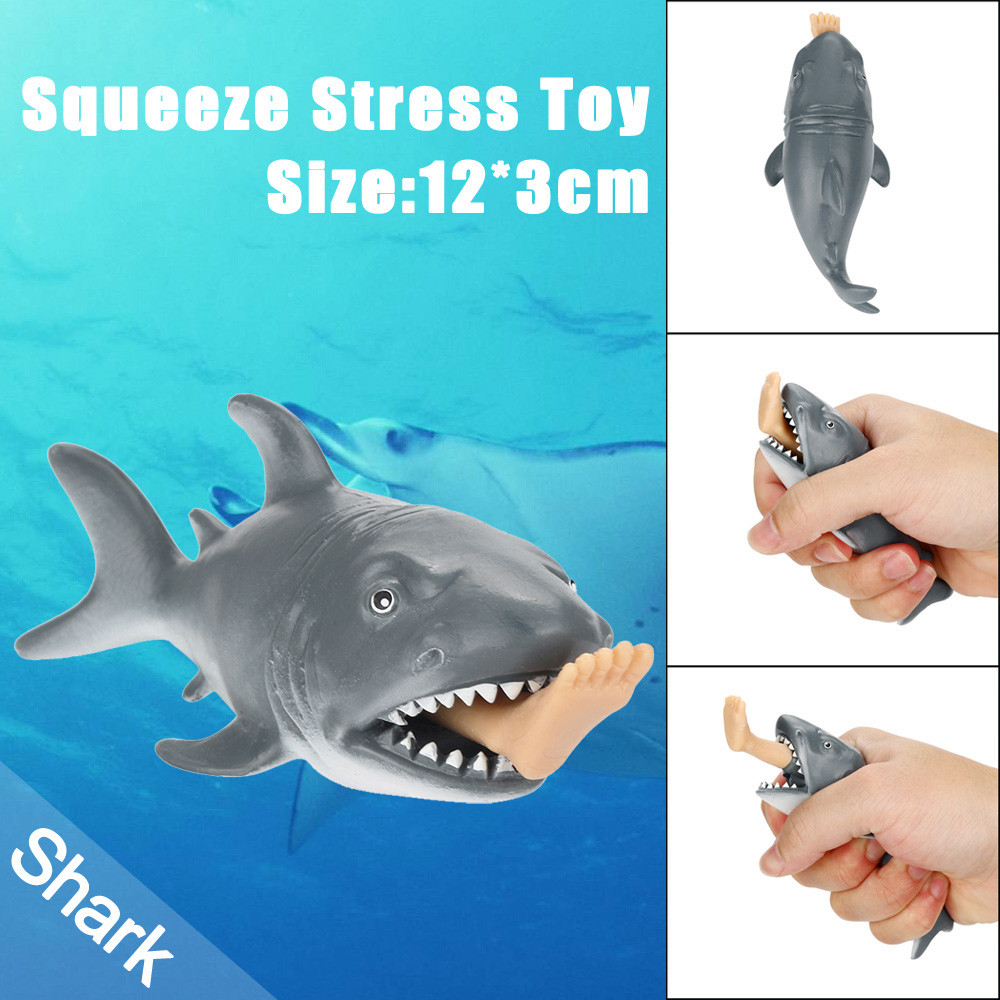 12cm Funny Toy Shark Squeeze Stress Ball Alternative Humorous Light Hearted New Kids Toys Squishy Toys Juguetes De Descompresion