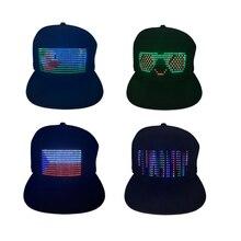 2021 New Editable LED Luminous Hat Multi Language Display Advertising Hat Dance Party Decorative Hat Light up LED Hip hop Cap