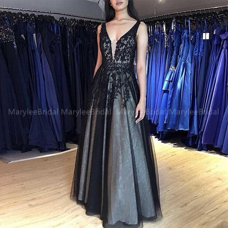 Black V-neck Prom Dress Sleeveless Appliques Floor Length Vestido De Formatura Longo Formal Party Dress A-line Vestidos De Gala