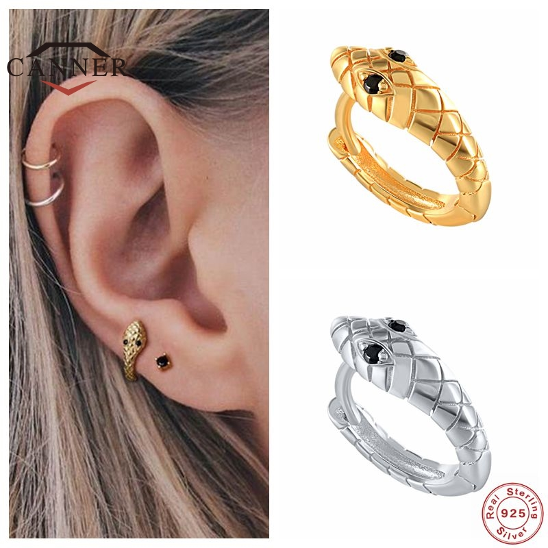 Punk 925 Sterling Silver Small Hoop Earrings for Women Fashion Animal Snake Shaped Gold Silver Earrings silver 925 Jewelry