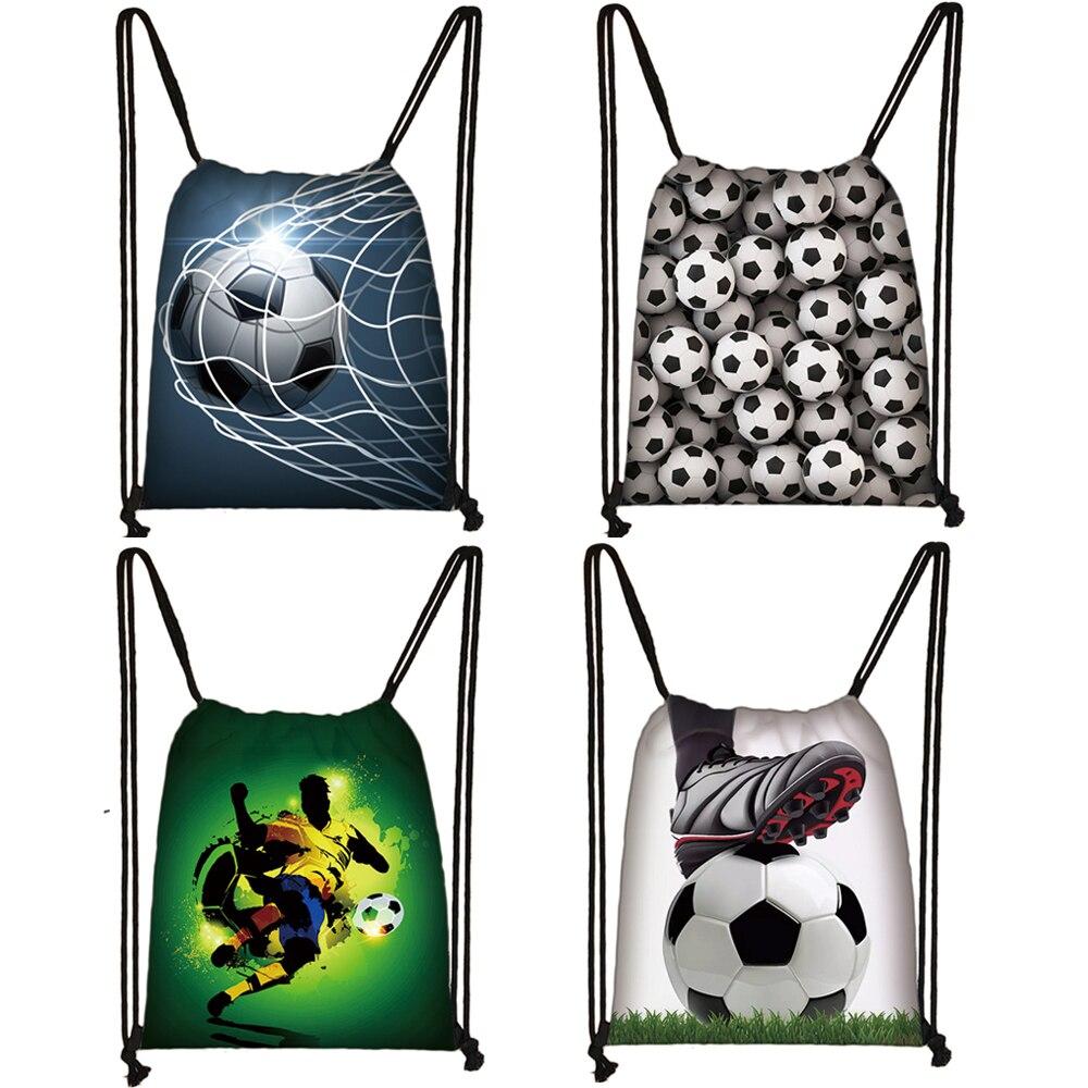 Cool Footbally / Soccerly Print Drawstring Bag Men Fashion Storage Bag Teenager Boy Casual Backpack Travel Bags Bookbag Gift