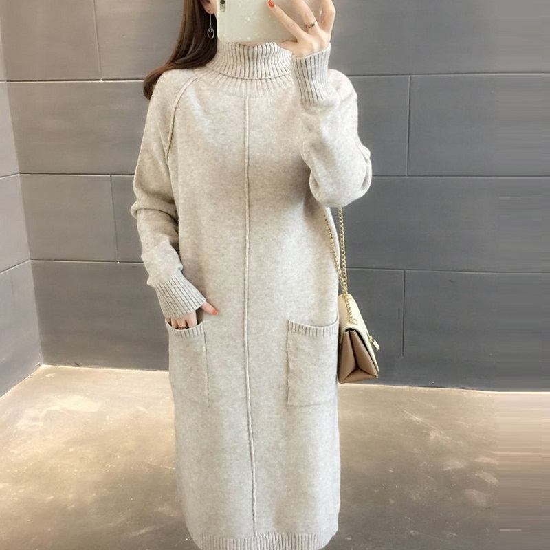 Spring/autumn Women Clothing Computer Knitted Women Sweaters High Elastic Dresses X-long Pullovers Maternity Sweaters