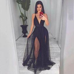 Black soft tulle sexy communion dresses Evening Dress prom party Robe De Soiree longue Formal Dress simple robe de soiree