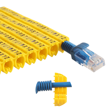 Plastic cable marking clip m-0 m-1 m-2 m-3 alphabit cable marking AZ cable size 1.5 SQMM yellow cable insulation cable marking 1