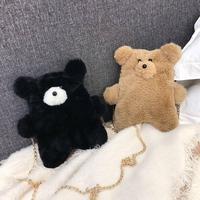 Милые детские плюшевые сумки через плечо с мультяшным медведем Kawaii, детские сумки через плечо с цепочкой, милые сумочки для девочек, маленьк...