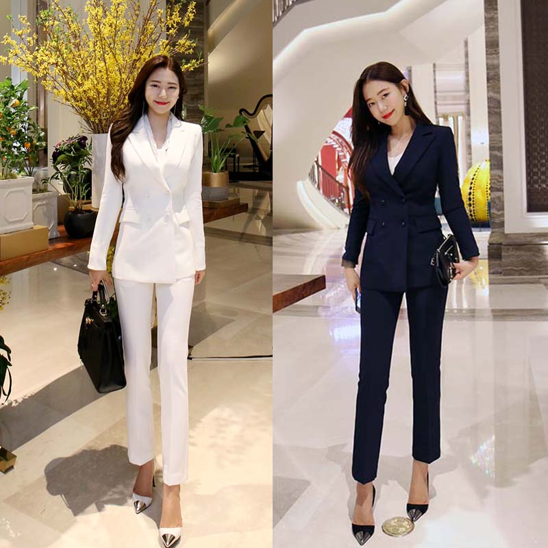 Suit Women 2020 Spring And Autumn Fashion Slim Casual Suit Jacket Two-piece Suit Temperament Wild Thin Women's Clothing Set