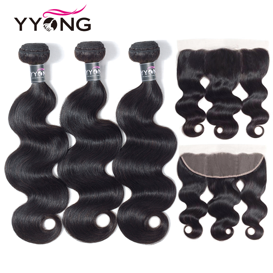 YYong 13x4 Lace Frontal With Bundles  Body Wave Bundles With Closure Pre Plucked Ear To Ear Frontal  4