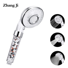 ZhangJi 3-Function Water Saving Shower Head High Pressure and  handheld ABS Stop Mode with Extra Pack of Filter Beads