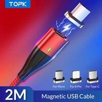 Cavo magnetico TOPK AM61 2M 3A cavo di ricarica rapida tipo C per caricabatterie iPhone cavo di ricarica Micro USB cavo di ricarica rapida