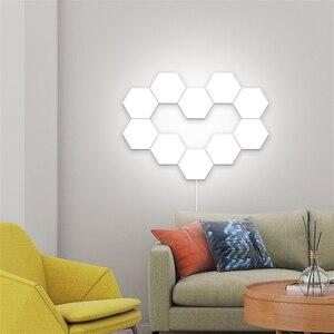 Image 3 - Lampe quantique moderne, éclairage sensible au toucher, lumière de la nuit, Hexagons magnétiques, décoration lampara murale pour le mariage de Restaurant