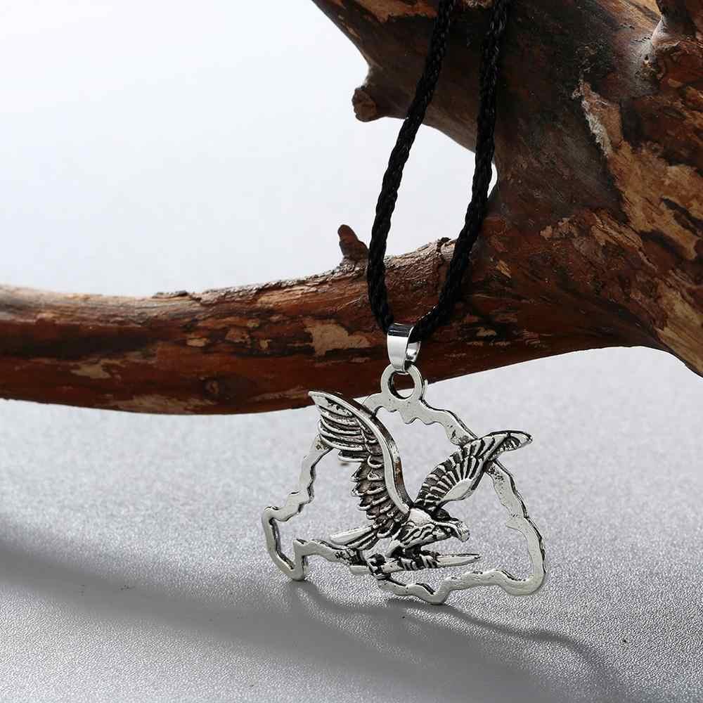 QIAMNI ヒップホップパンク動物イーグル翼メンズ女性ギフトロープチェーンチョーカーゴシックバイキングフライング鷹ジュエリー
