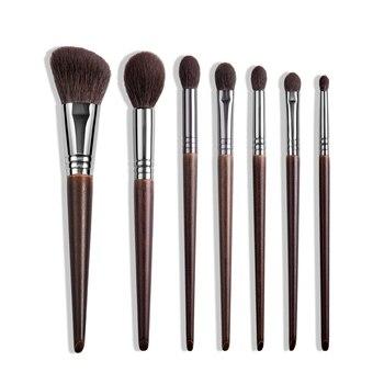 OVW Natural Goat Hair Makeup Brushes Set Professional Kit brocha maquillaje pedzle do makijazu blending smudging brush shader - 7pcs 4578111219, Russian Federation