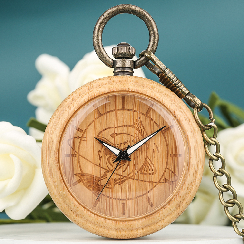 Bamboo Pocket Watch Men Wooden Fish Dial Women Clock High Quality Necklace Chain Pendant Watch Christmas Gift Reloj De Bolsillo