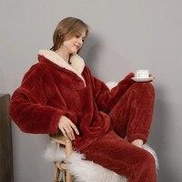 Conjunto de Pijama de lana de manga larga para mujer, conjunto de 2 uds. De pantalón largo grueso y cálido para el hogar