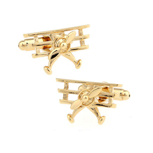 French Cufflinks Solid Color Gold Fighter Shape Cuff Links Fashion Men's Daily Business Shirt Cuff Buttons Novelty Jewelry Gifts 18 style mix hotsale designs cufflinks men s designer cufflinks gold color bullet design novelty gun design cuff links