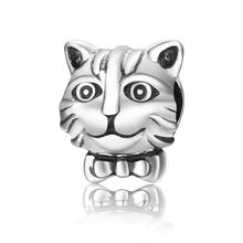 925 Sterling Silver Lovely Cute Animal Cat Head Shape Beads fit Original Charm Bracelets for DIY Jewelry(China)