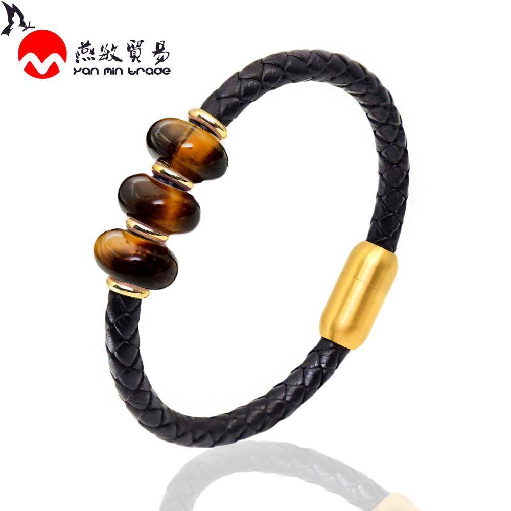 Punk Genuine Leather Men Bracelet 2020 Charms Natural Stone Beads Bracelet Mens Stainless Steel Jewelry Friends Gift