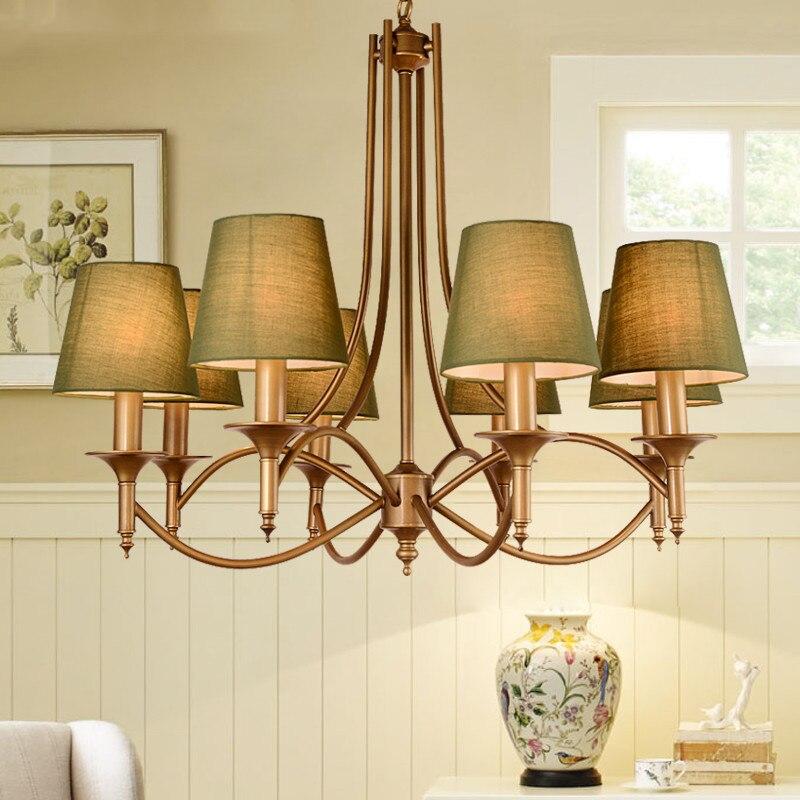 American Country Chandelier Nordic Living Room Bedroom Dining Room Lamp Children Room Iron Art Blue Style Mediterranean Pendant