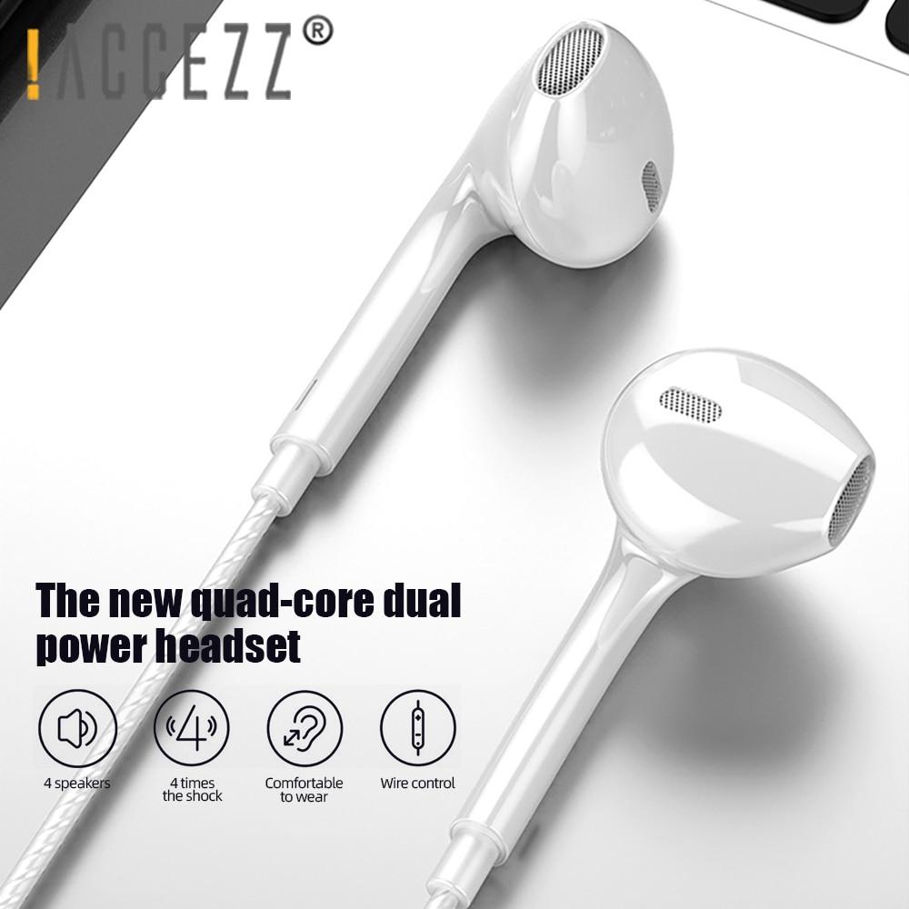 ! ACCEZZ 3,5 мм стерео бас спортивные наушники громкой связи в ухо музыка громкость Contol с микрофоном для iPhone Samsung Xiaomi Проводная гарнитура