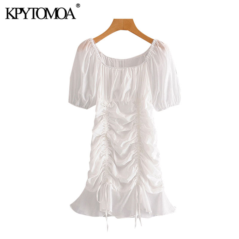KPYTOMOA Women 2020 Chic Fashion Ruffles Pleated Mini Dress Vintage Puff Sleeves Lace-up Female Dresses Vestidos Mujer