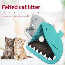 Mat Basket Nest Dog-House Pet-Cat-Beds Rabbit Funny Portable Cute Felt 1pc Shark-Shape