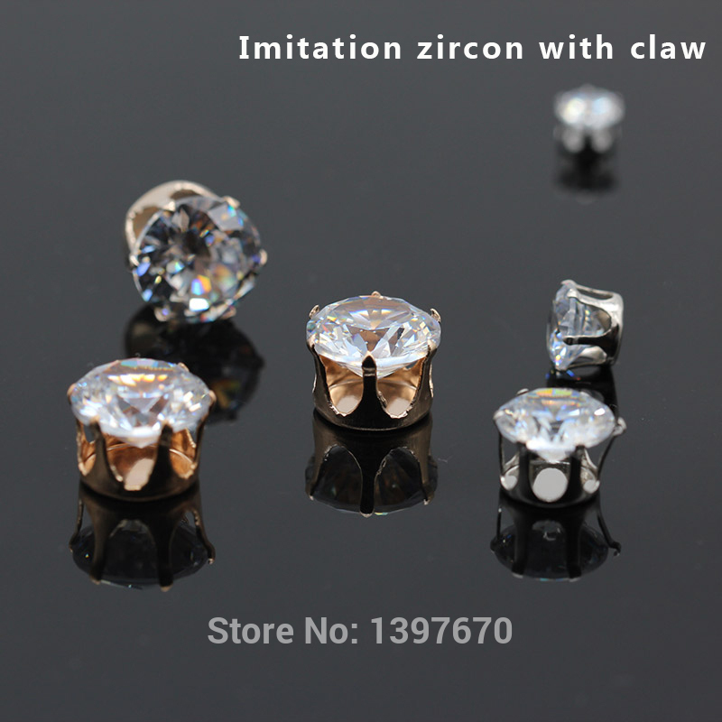 top shiny 6/8/10/12MM simulation zircon super flash hand sewing by hand drill with LT gold claw DIY accessories