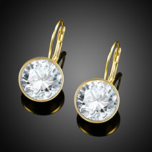 Real Gold 18K Plated Earrings With LEKANI Crystals From Swarovski Round Earrings for Women Fine Jewelry Wedding Gifts