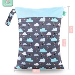 Image 4 - Elinfant 패션 새로운 4pcs diape 삽입 + 1pc 젖은 가방 빨 커피 메쉬 천 기저귀 커버 조정 가능한 재사용 가능한 기저귀