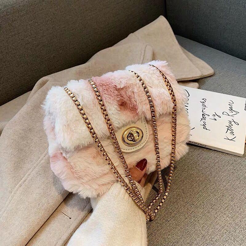 Elegant Female Square Small Crossbody Bag 2019 Winter New  Soft Plush Women's Designer Handbag Lock Chain Shoulder Messenger Bag