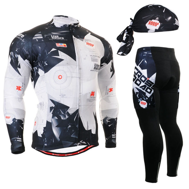 2020 black long sleeve shirt quick dry Cycling Jerseys set Long Clothes suits Bicycle Clothing Moutain Shaped Pattern Ropa