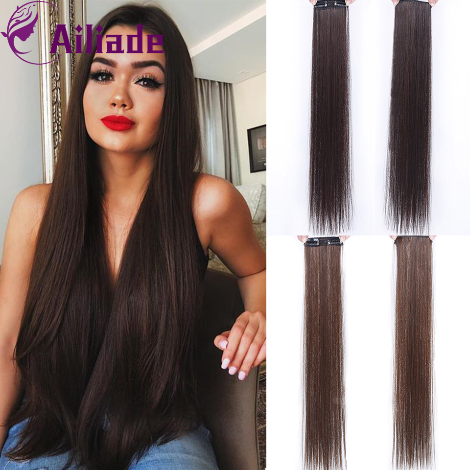 AILIADE 4Colors 2 Clip In Hair Extensions Synthetic 1 Piece Women Long Straight Clip On Heat Resistant Fiber Hair Extensions