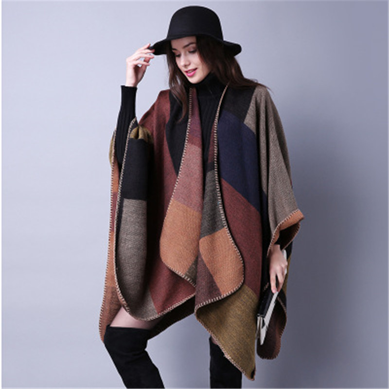2019 Fashion Winter Warm Plaid Ponchos And Capes For Women Oversized Blanket Scarf Shawls Cashmere Pashmina Female Poncho Mujer