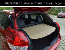 High quality Car Rear Trunk Security Shield Cargo Cover For TOYOTA YARIS L 16-18 2017 2018 2019 ( black, beige)