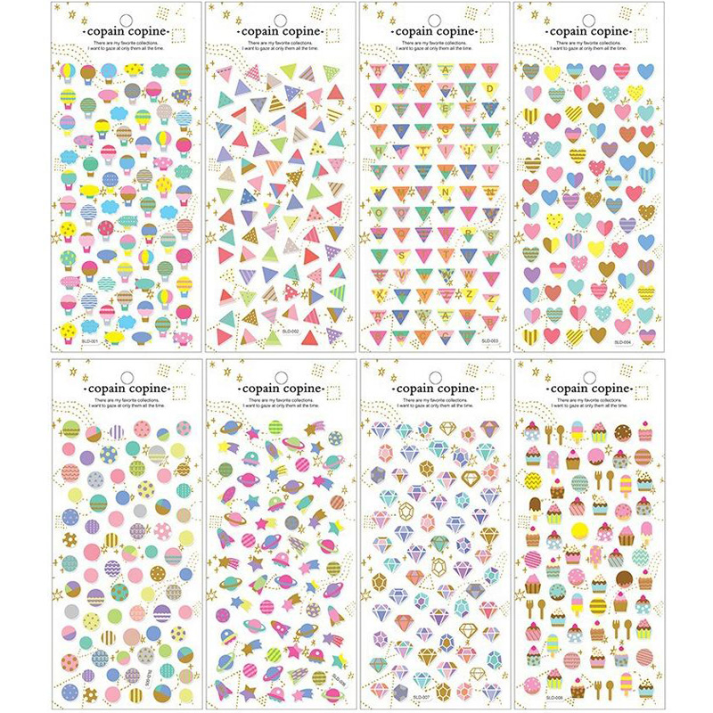 Foil Hot Air Balloon Sticker Small Heart Sticker Lipstick / Diamond / Food Stickers For Scrapbooking 1pcs/lot